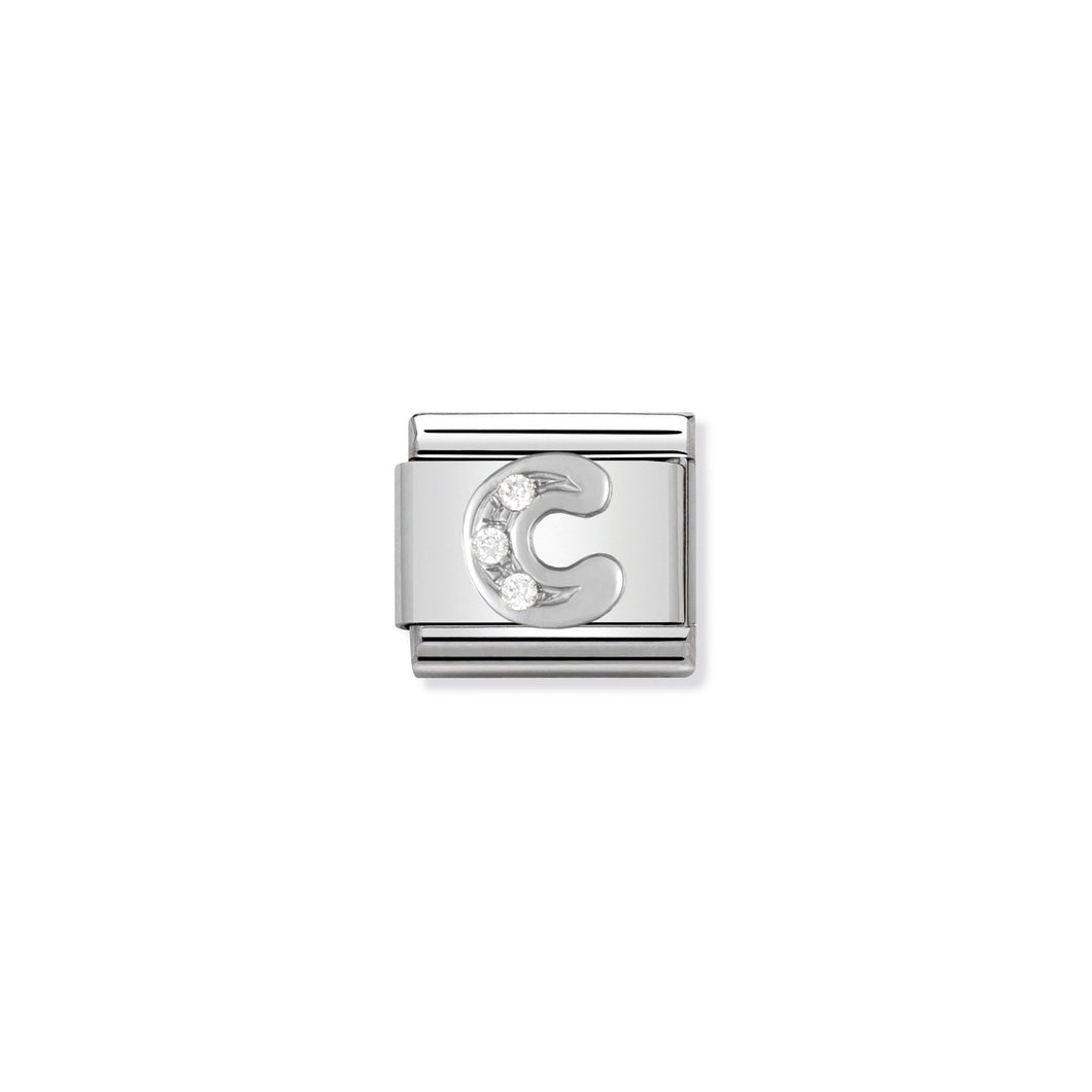 COMPOSABLE CLASSIC LINK 330301/03 LETTER C WITH CZ IN 925 SILVER