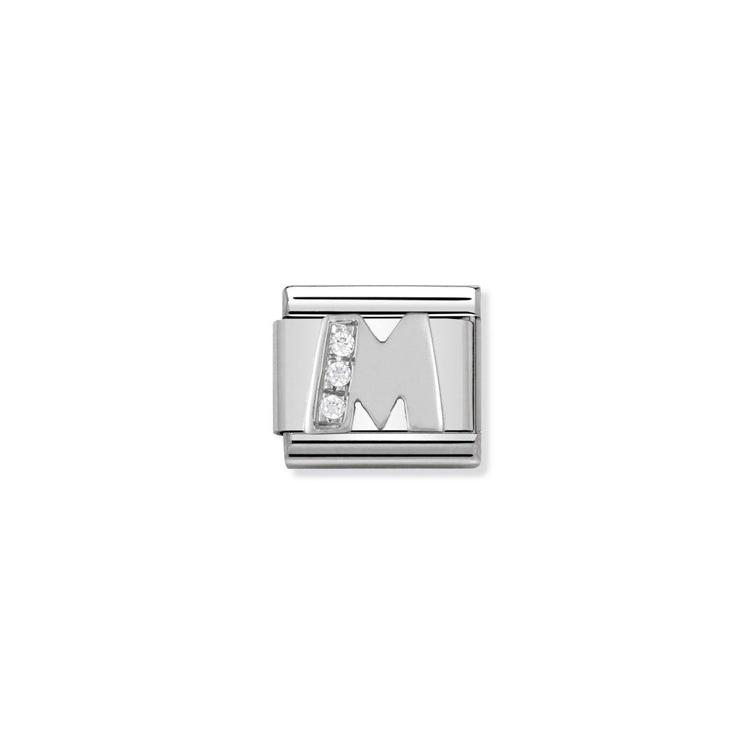 COMPOSABLE CLASSIC LINK 330301/13 LETTER M WITH CZ IN 925 SILVER