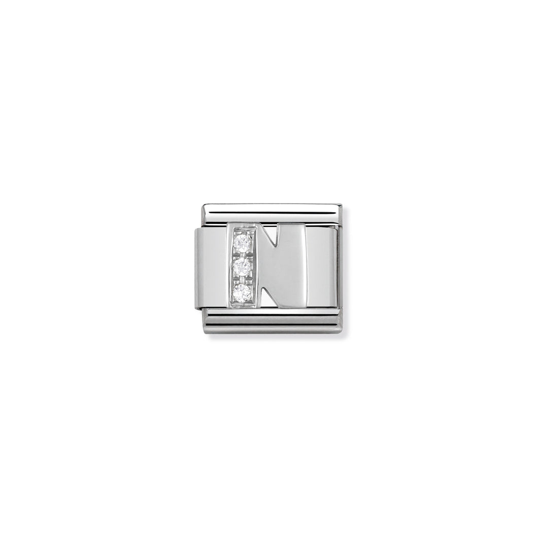 COMPOSABLE CLASSIC LINK 330301/14 LETTER N WITH CZ IN 925 SILVER