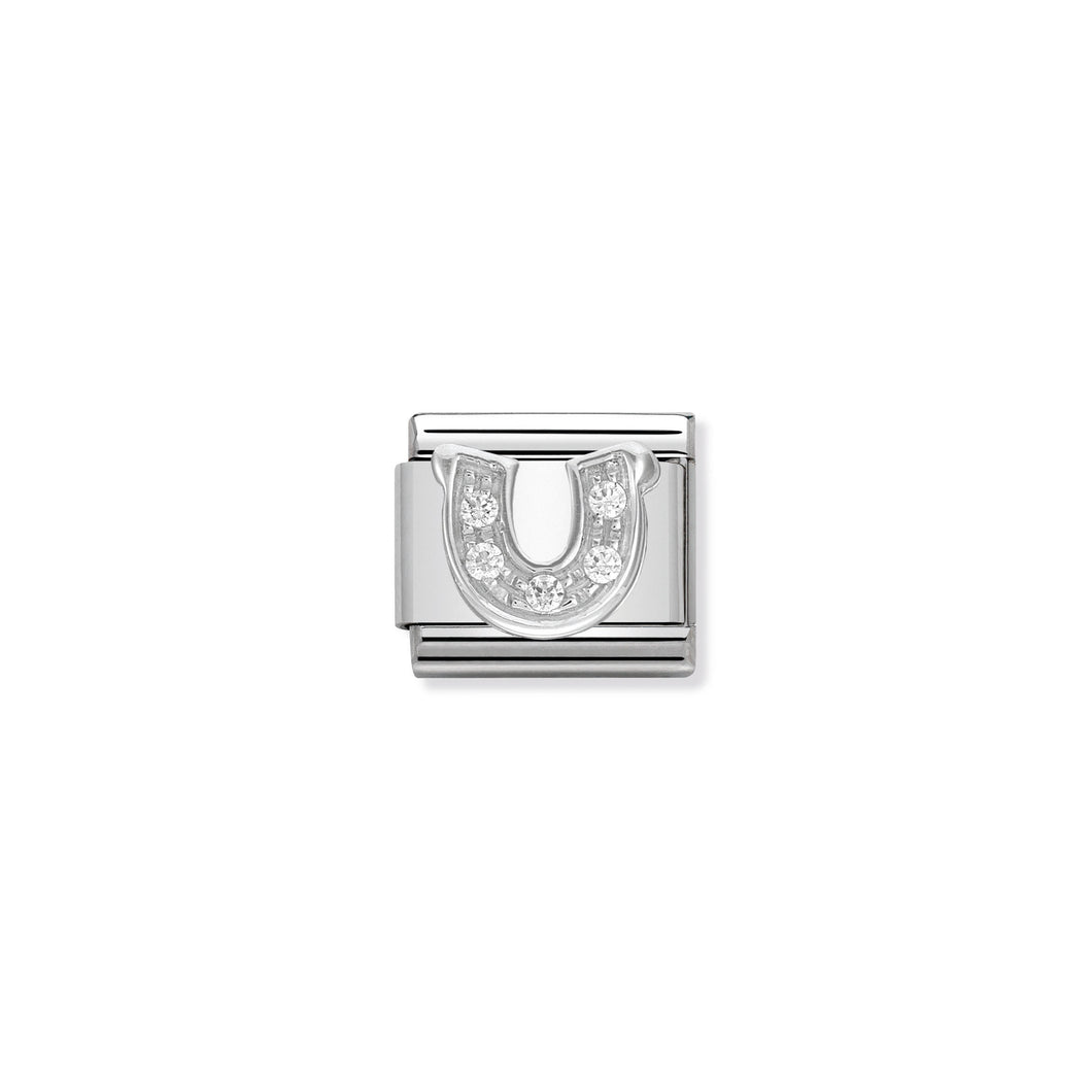 COMPOSABLE CLASSIC LINK 330304/06 HORSESHOE WITH CZ IN 925 SILVER
