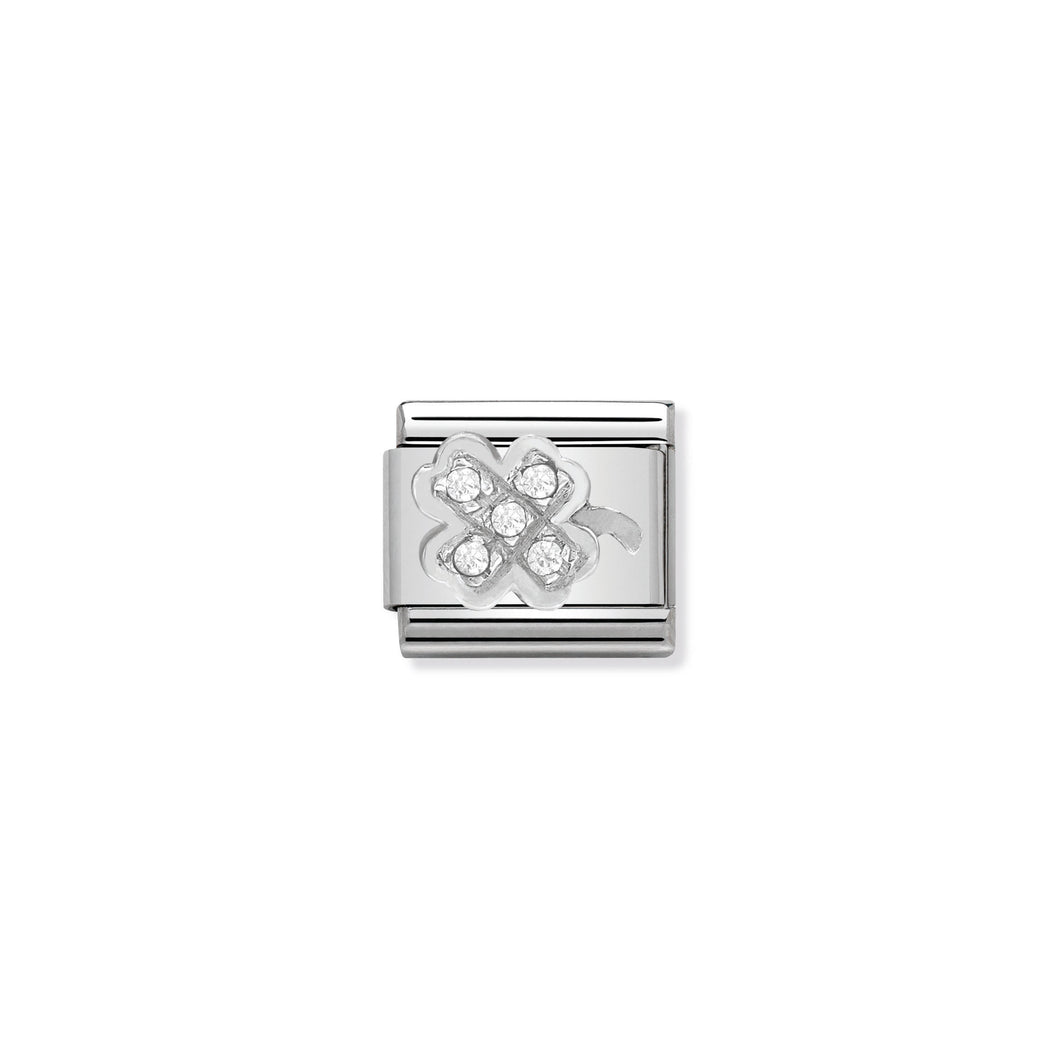 COMPOSABLE CLASSIC LINK 330304/07 CLOVER WITH CZ IN 925 SILVER