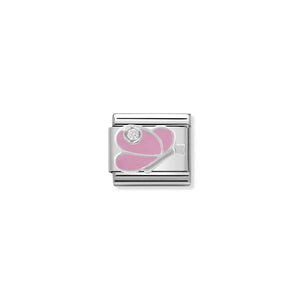 COMPOSABLE CLASSIC LINK 330305/07 PINK BUTTERFLY WITH CZ & ENAMEL IN 925 SILVER