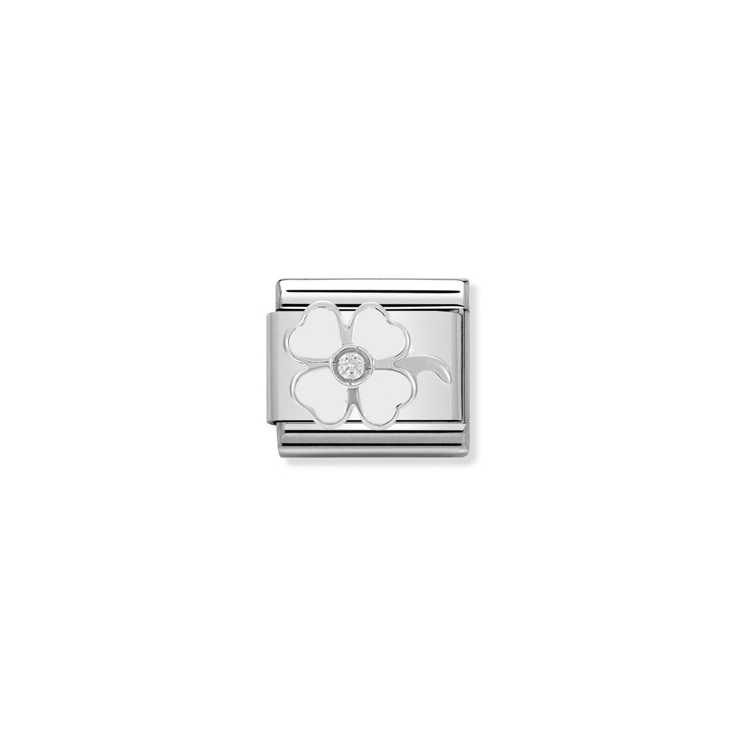 COMPOSABLE CLASSIC LINK 330305/14 WHITE CLOVER WITH CZ & ENAMEL IN 925 SILVER