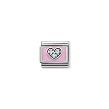 Load image into Gallery viewer, COMPOSABLE CLASSIC LINK 330306/06 PINK HEART WITH CZ & ENAMEL IN 925 SILVER