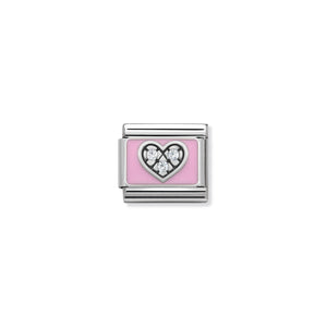 COMPOSABLE CLASSIC LINK 330306/06 PINK HEART WITH CZ & ENAMEL IN 925 SILVER