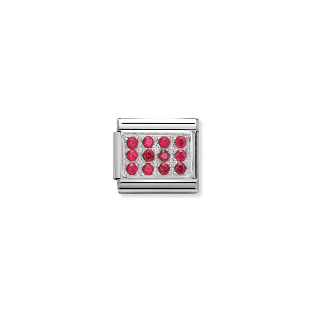 COMPOSABLE CLASSIC LINK 330307/02 PAVÉ WITH RED CZ IN 925 SILVER