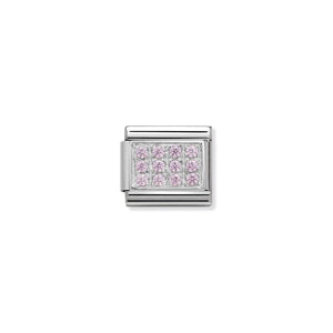COMPOSABLE CLASSIC LINK 330307/06 PAVÉ WITH PINK CZ IN 925 SILVER