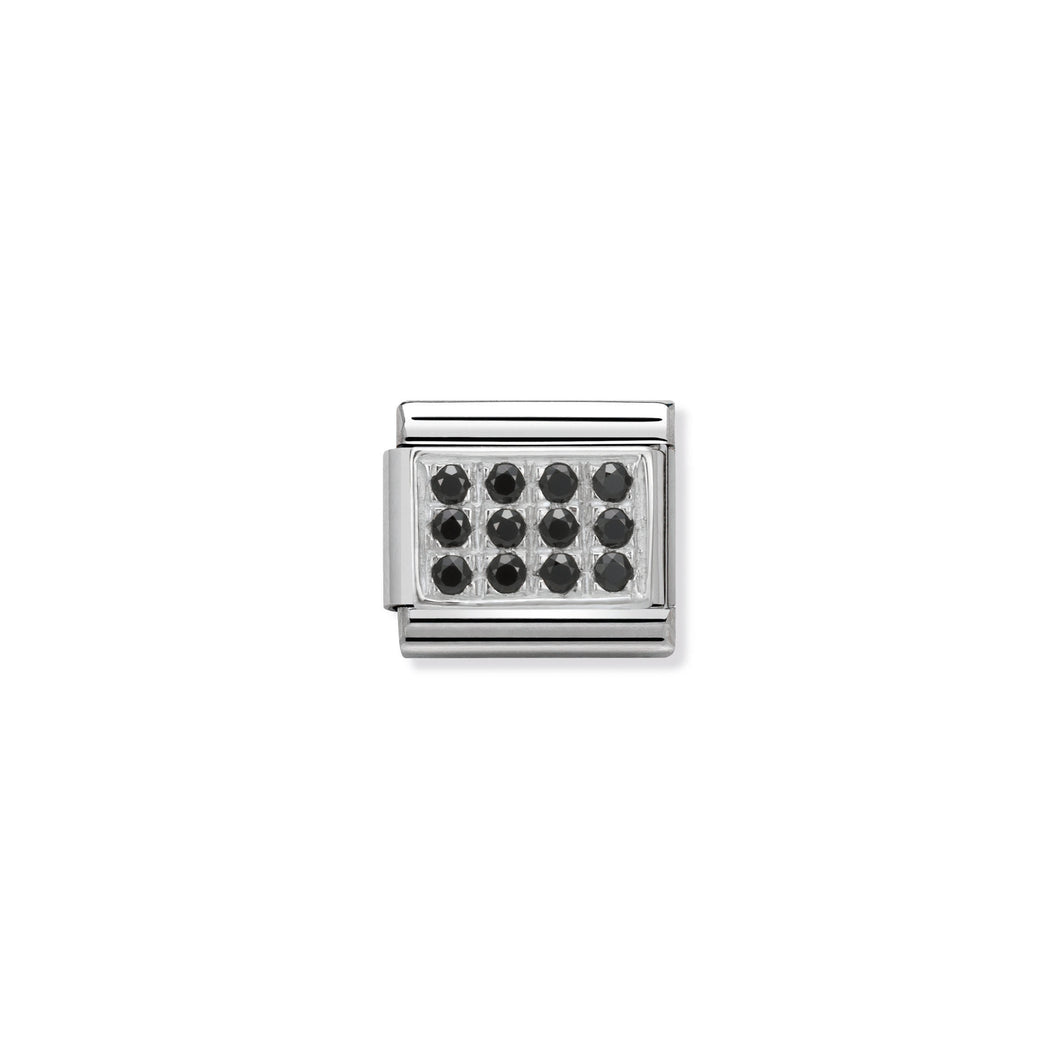 COMPOSABLE CLASSIC LINK 330307/10 PAVÉ WITH BLACK CZ IN 925 SILVER