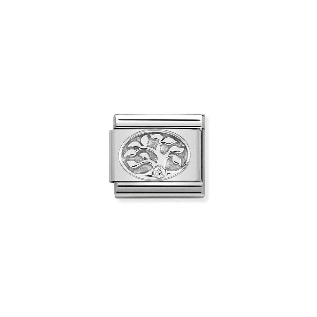 COMPOSABLE CLASSIC LINK 330311/10 TREE OF LIFE WITH WHITE CZ IN 925 SILVER