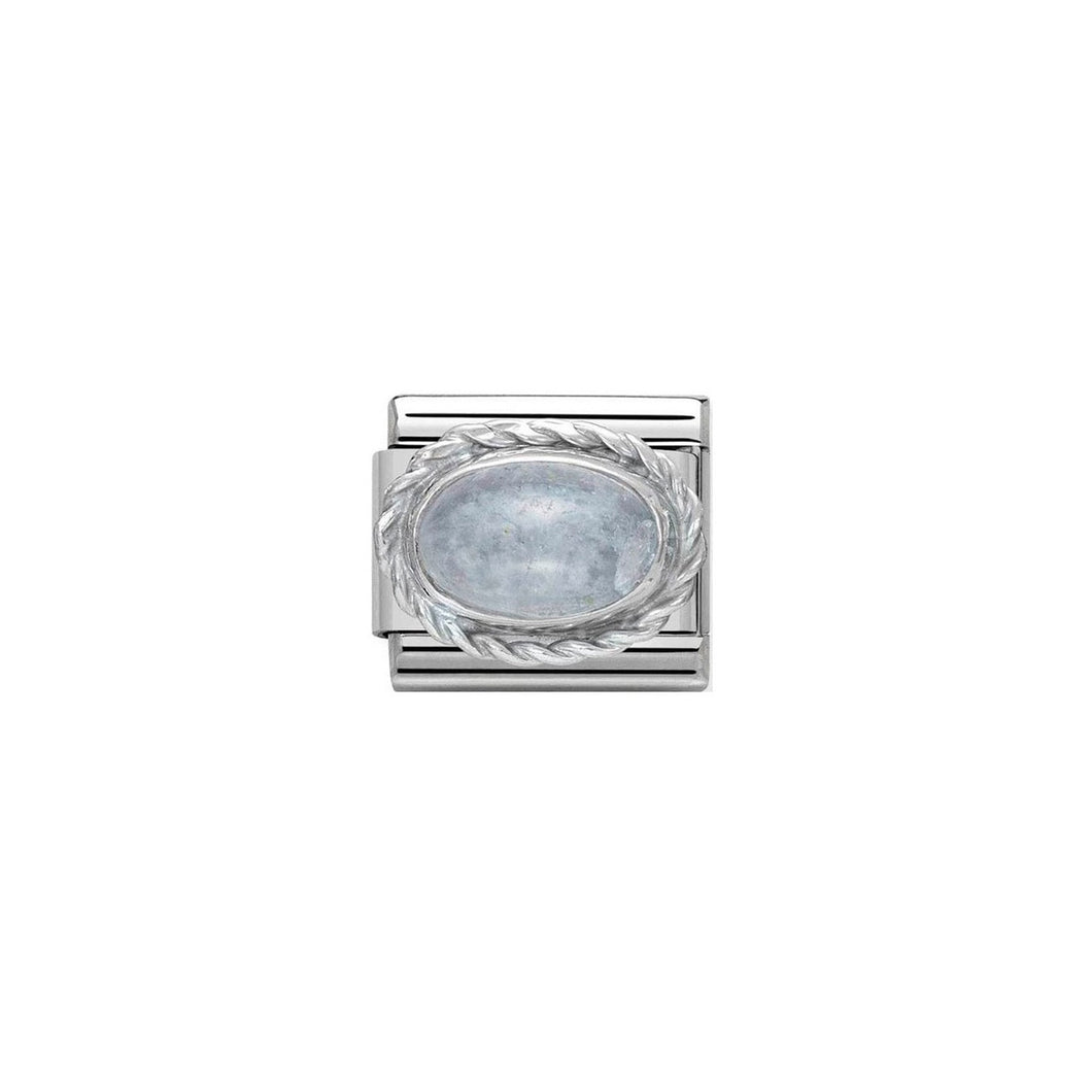 COMPOSABLE CLASSIC LINK 330504/01 AQUAMARINE STONE IN 925 SILVER