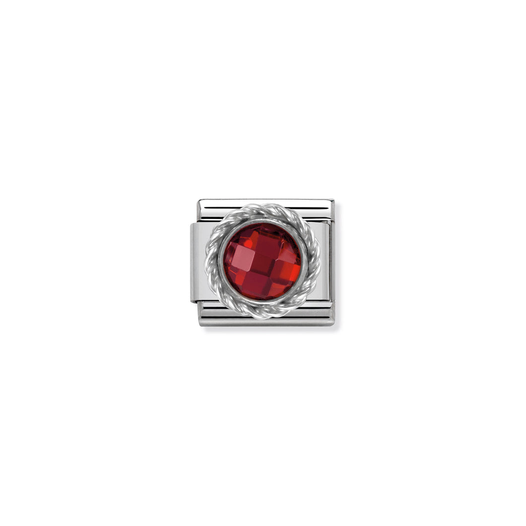 COMPOSABLE CLASSIC LINK 330601/005 ROUND FACETED RED CZ WITH TWIST DETAIL IN 925 SILVER