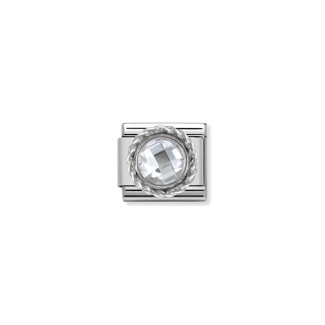 COMPOSABLE CLASSIC LINK 330601/010 ROUND FACETED WHITE CZ WITH TWIST DETAIL IN 925 SILVER
