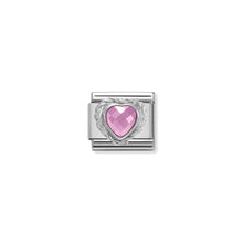 Load image into Gallery viewer, COMPOSABLE CLASSIC LINK 330603/003 PINK FACETED HEART CZ WITH TWIST DETAIL IN 925 SILVER