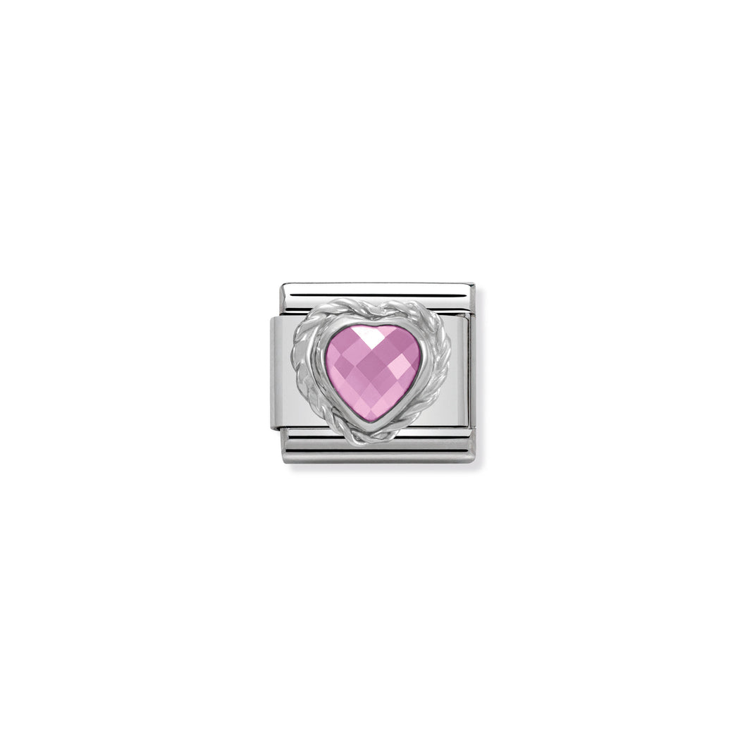 COMPOSABLE CLASSIC LINK 330603/003 PINK FACETED HEART CZ WITH TWIST DETAIL IN 925 SILVER