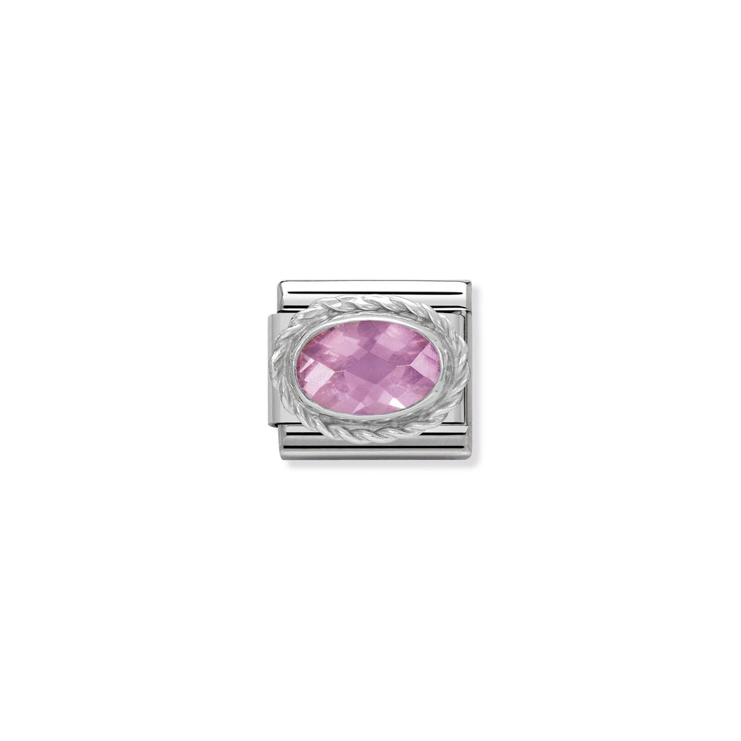 COMPOSABLE CLASSIC LINK 330604/003 FACETED PINK OVAL CZ IN 925 SILVER
