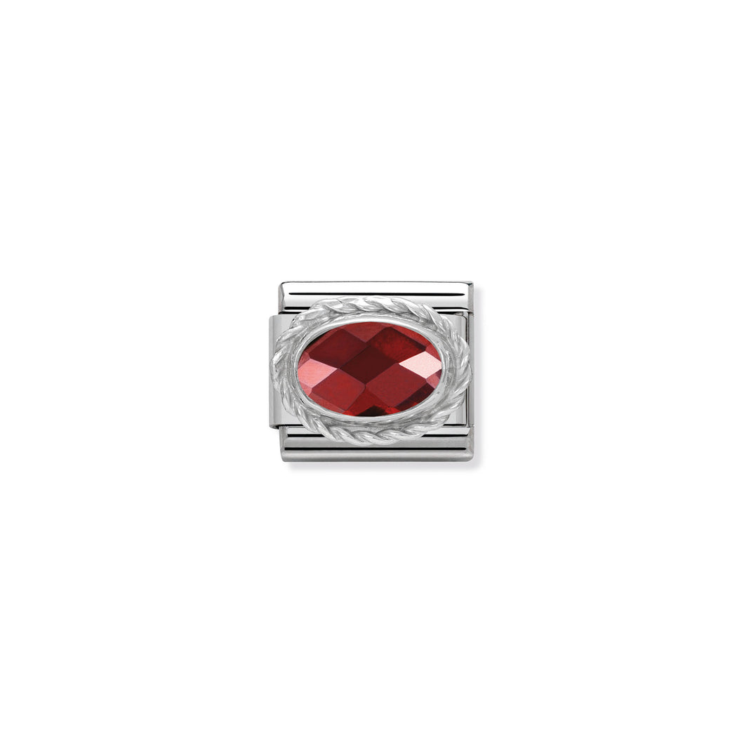 COMPOSABLE CLASSIC LINK 330604/005 FACETED RED OVAL CZ IN 925 SILVER