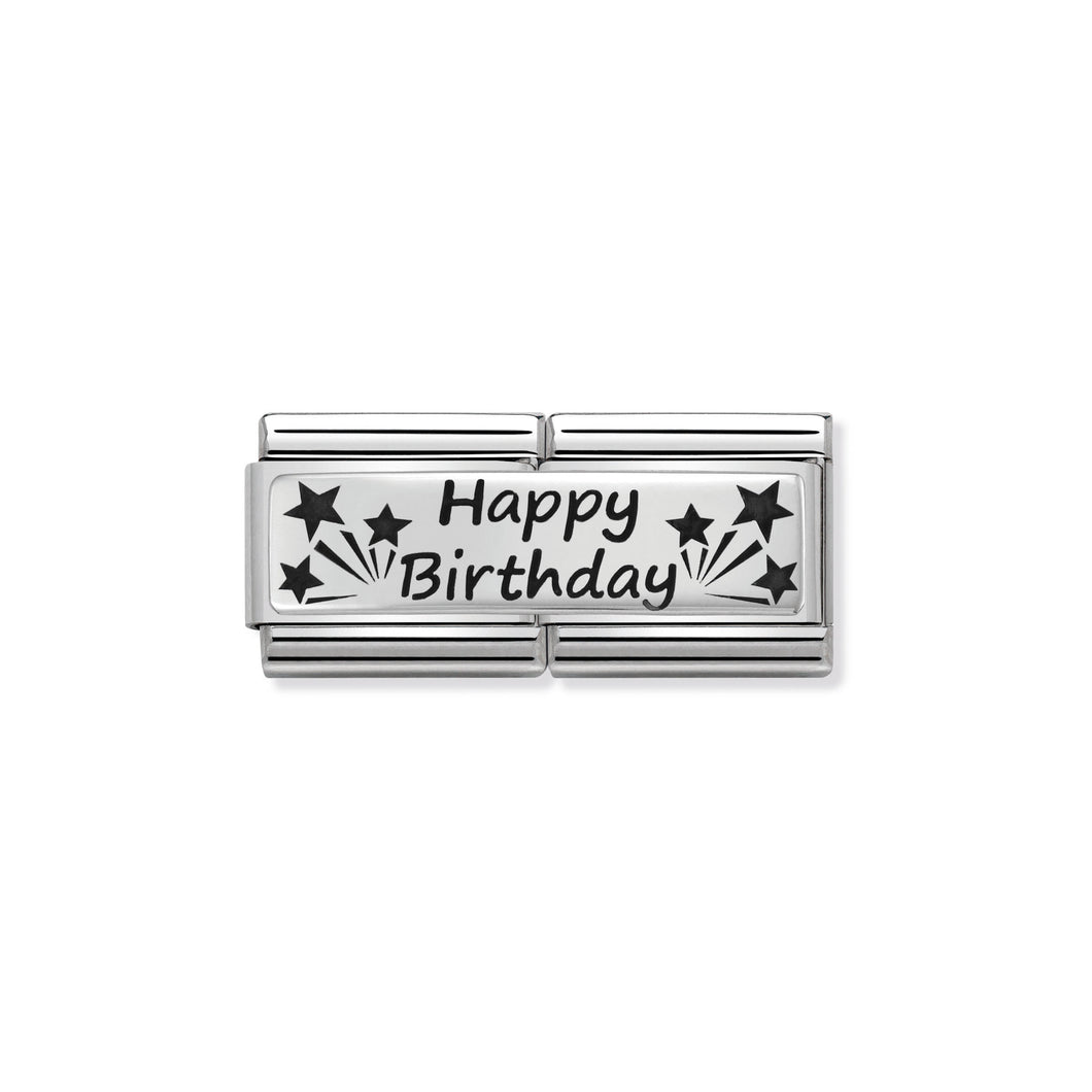 COMPOSABLE CLASSIC DOUBLE LINK 330710/13 HAPPY BIRTHDAY IN 925 SILVER