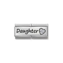 Load image into Gallery viewer, COMPOSABLE CLASSIC DOUBLE LINK 330731/02 DAUGHTER AND HEART WITH CZ IN 925 SILVER