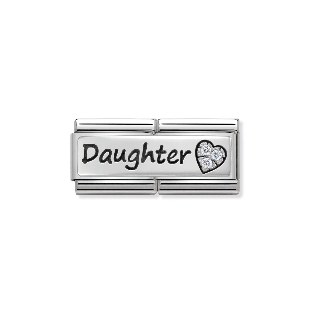 COMPOSABLE CLASSIC DOUBLE LINK 330731/02 DAUGHTER AND HEART WITH CZ IN 925 SILVER