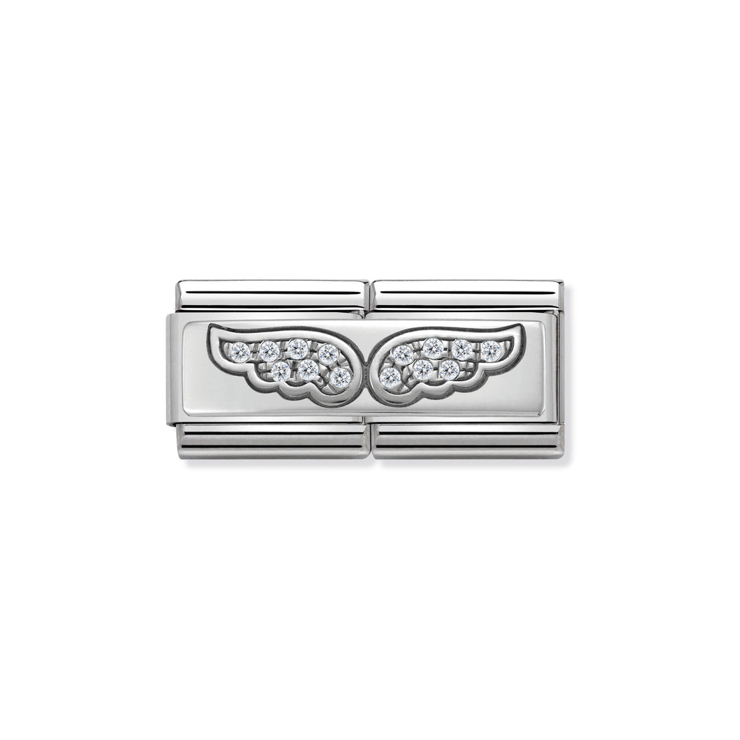 COMPOSABLE CLASSIC DOUBLE LINK 330732/01 ANGEL WINGS WITH CZ IN 925 SILVER