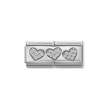 Load image into Gallery viewer, COMPOSABLE CLASSIC DOUBLE LINK 330732/02 THREE HEARTS WITH CZ IN 925 SILVER