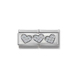 COMPOSABLE CLASSIC DOUBLE LINK 330732/02 THREE HEARTS WITH CZ IN 925 SILVER