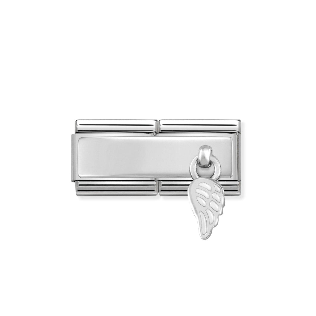 COMPOSABLE CLASSIC DOUBLE LINK 330780/01 WHITE WING CHARM IN ENAMEL & 925 SILVER