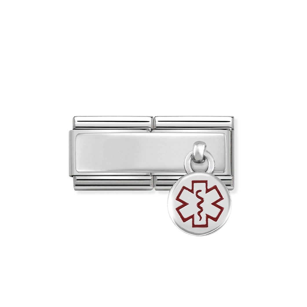 COMPOSABLE CLASSIC DOUBLE LINK 330780/02 MEDICAL TAG CHARM IN ENAMEL & 925 SILVER