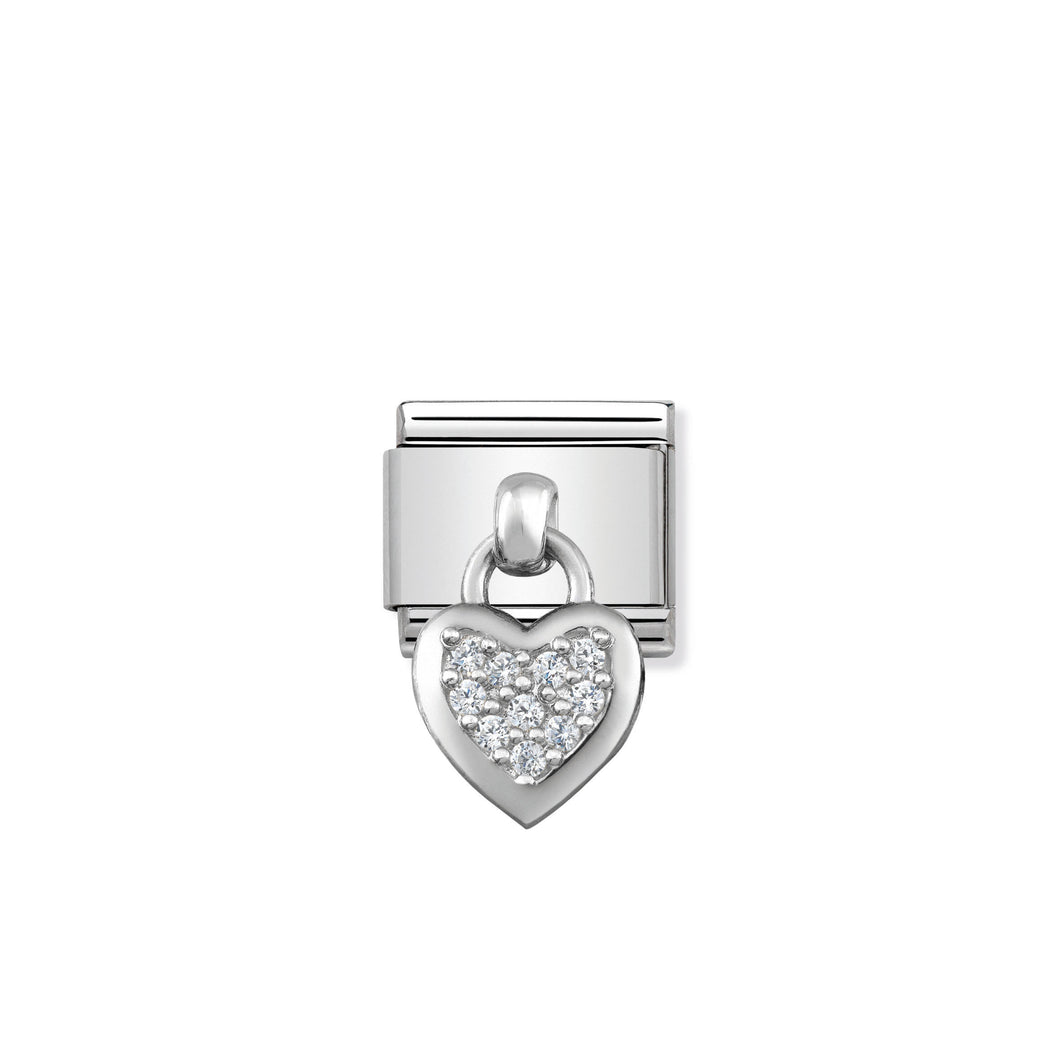 COMPOSABLE CLASSIC LINK 331800/01 HEART CHARM WITH CZ & 925 SILVER