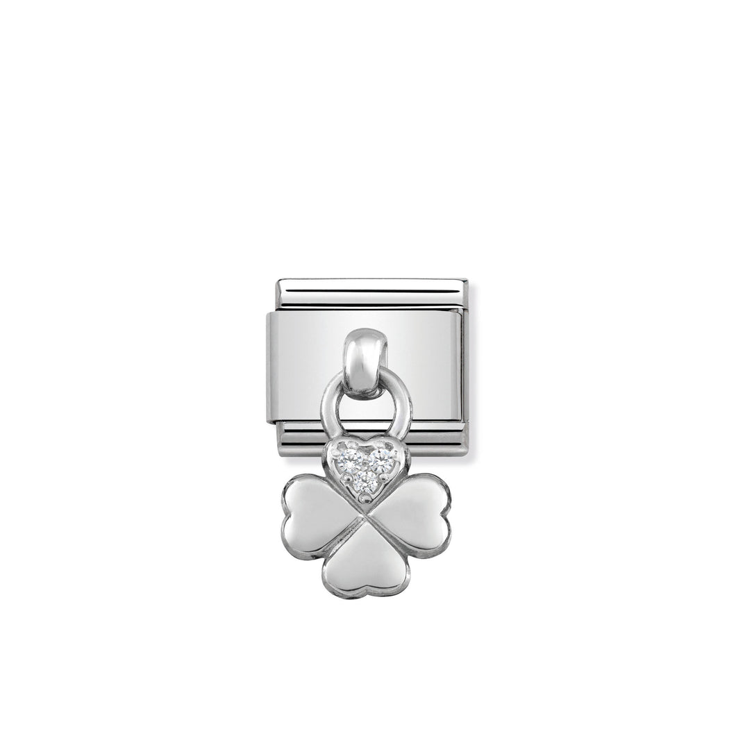 COMPOSABLE CLASSIC LINK 331800/02 FOUR LEAF CLOVER CHARM WITH CZ & 925 SILVER