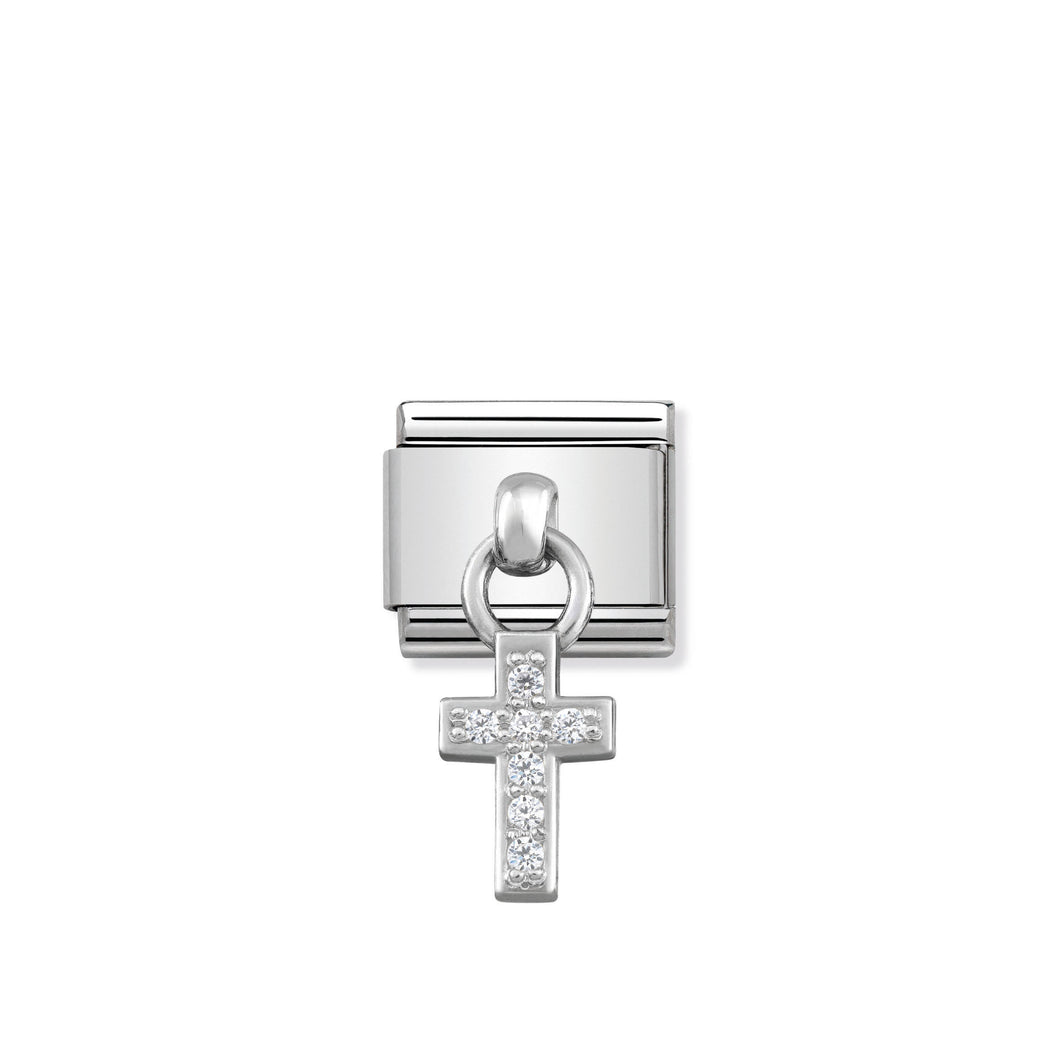 COMPOSABLE CLASSIC LINK 331800/04 CROSS CHARM WITH CZ & 925 SILVER