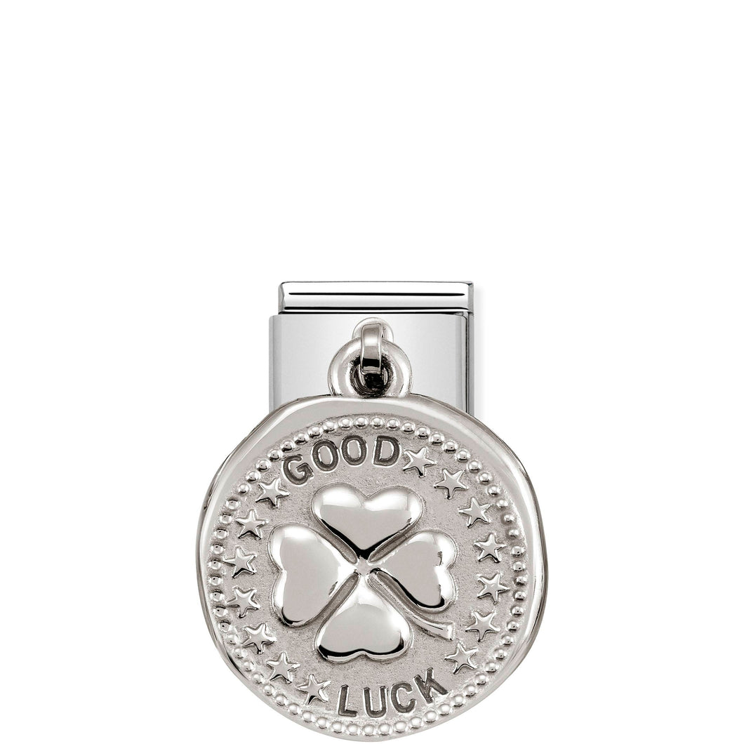 COMPOSABLE CLASSIC LINK 331804/07 GOOD LUCK WISHES CHARM IN 925 SILVER