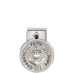 COMPOSABLE CLASSIC LINK 331804/18 CHARITY FAITH HOPE WISHES CHARM IN 925 SILVER