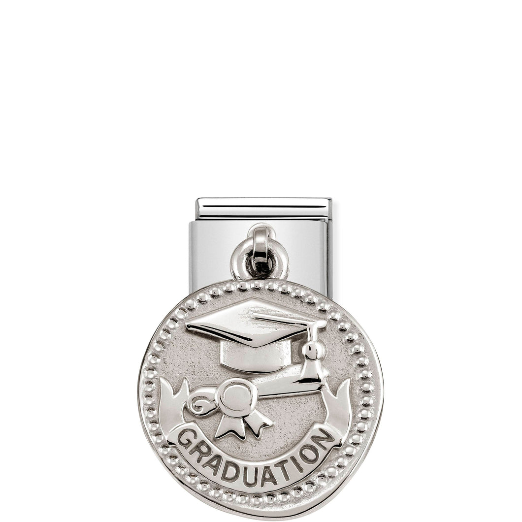COMPOSABLE CLASSIC LINK 331804/19 GRADUATION WISHES CHARM IN 925 SILVER