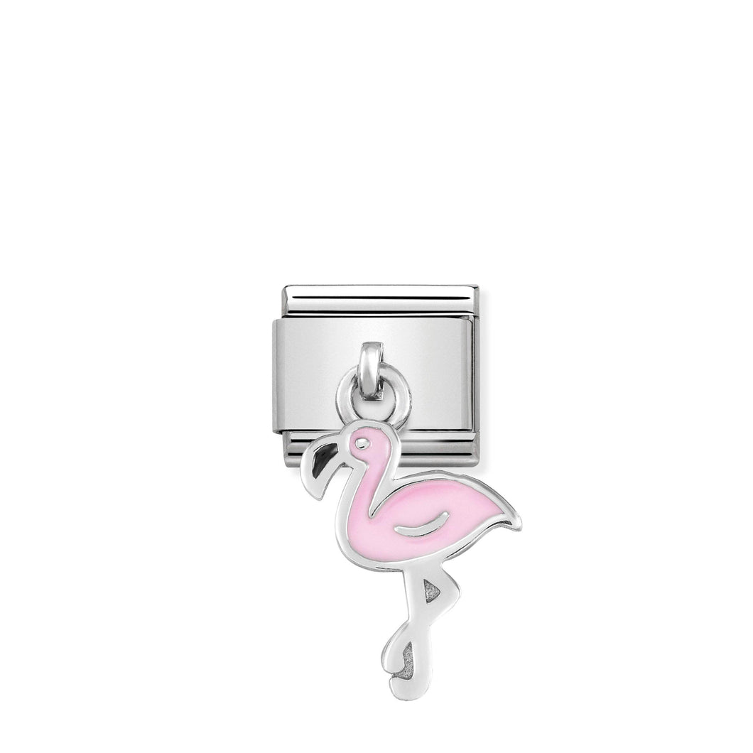 COMPOSABLE CLASSIC LINK 331805/12 FLAMINGO CHARM IN ENAMEL & 925 SILVER
