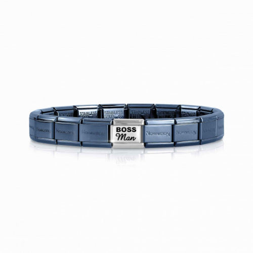 nomination blue bracelet with boss man link