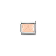 Load image into Gallery viewer, COMPOSABLE CLASSIC LINK 430101/15 DOUBLE HEART IN 9K ROSE GOLD