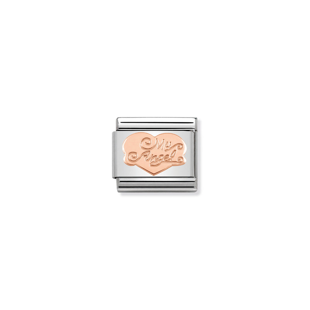 COMPOSABLE CLASSIC LINK 430104/02 HEART MY ANGEL IN 9K ROSE GOLD