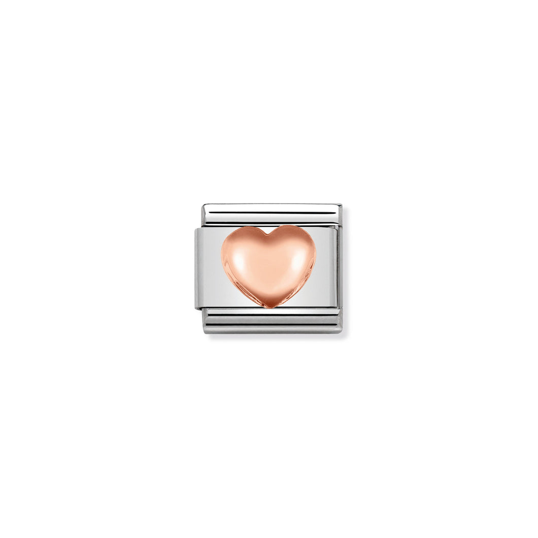 COMPOSABLE CLASSIC LINK 430104/22 RAISED HEART IN 9K ROSE GOLD