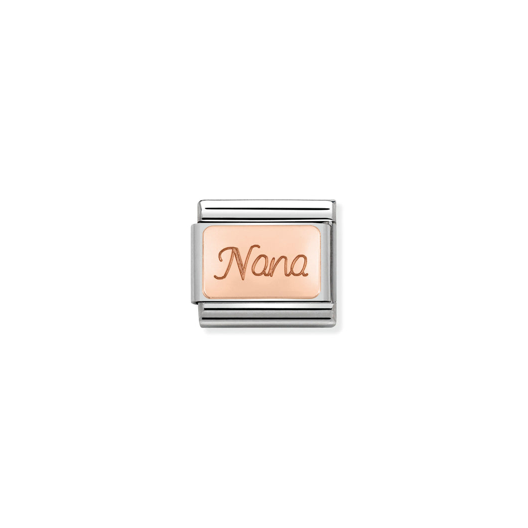 COMPOSABLE CLASSIC LINK 430108/01 NANA ENGRAVED 9K ROSE GOLD PLATE