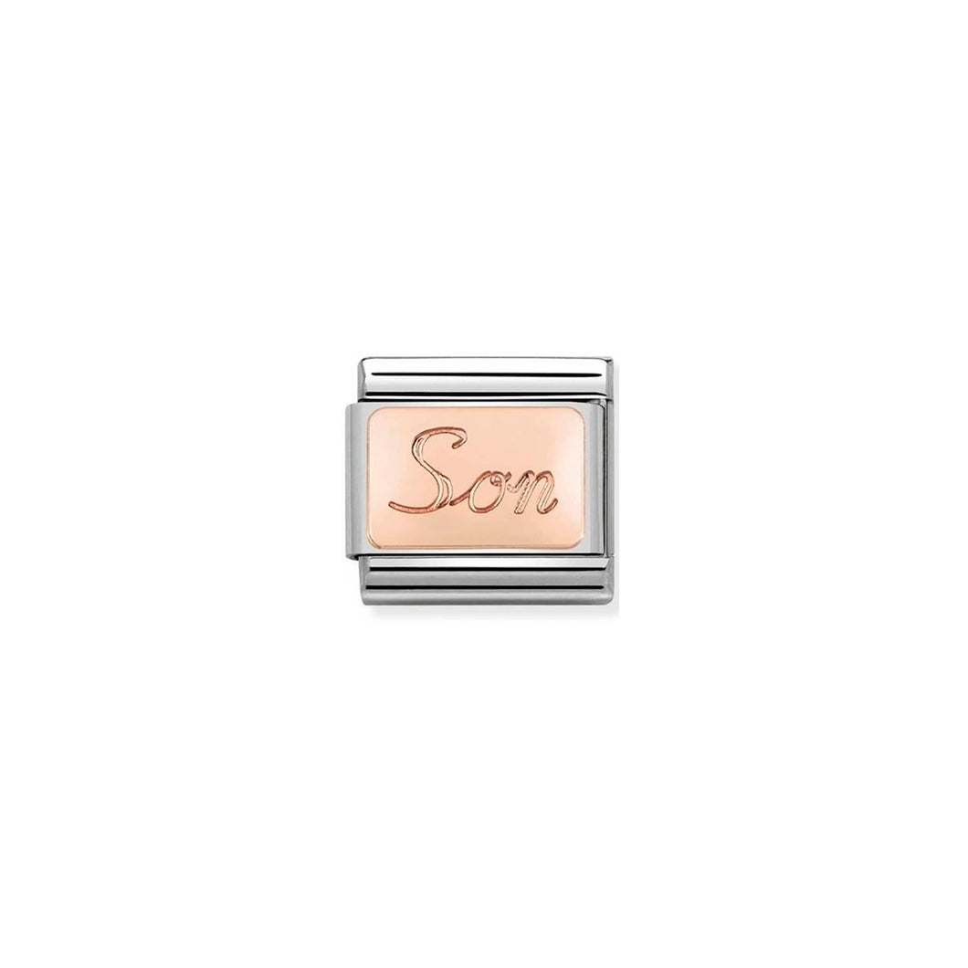 COMPOSABLE CLASSIC LINK 430108/07 SON ENGRAVED 9K ROSE GOLD PLATE