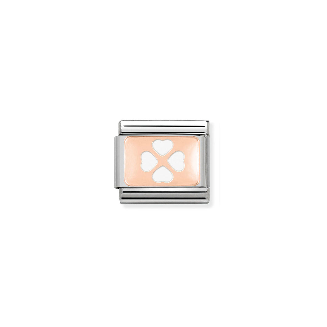 COMPOSABLE CLASSIC LINK 430201/07  WHITE FOUR-LEAF CLOVER 9K ROSE GOLD PLATE & ENAMEL