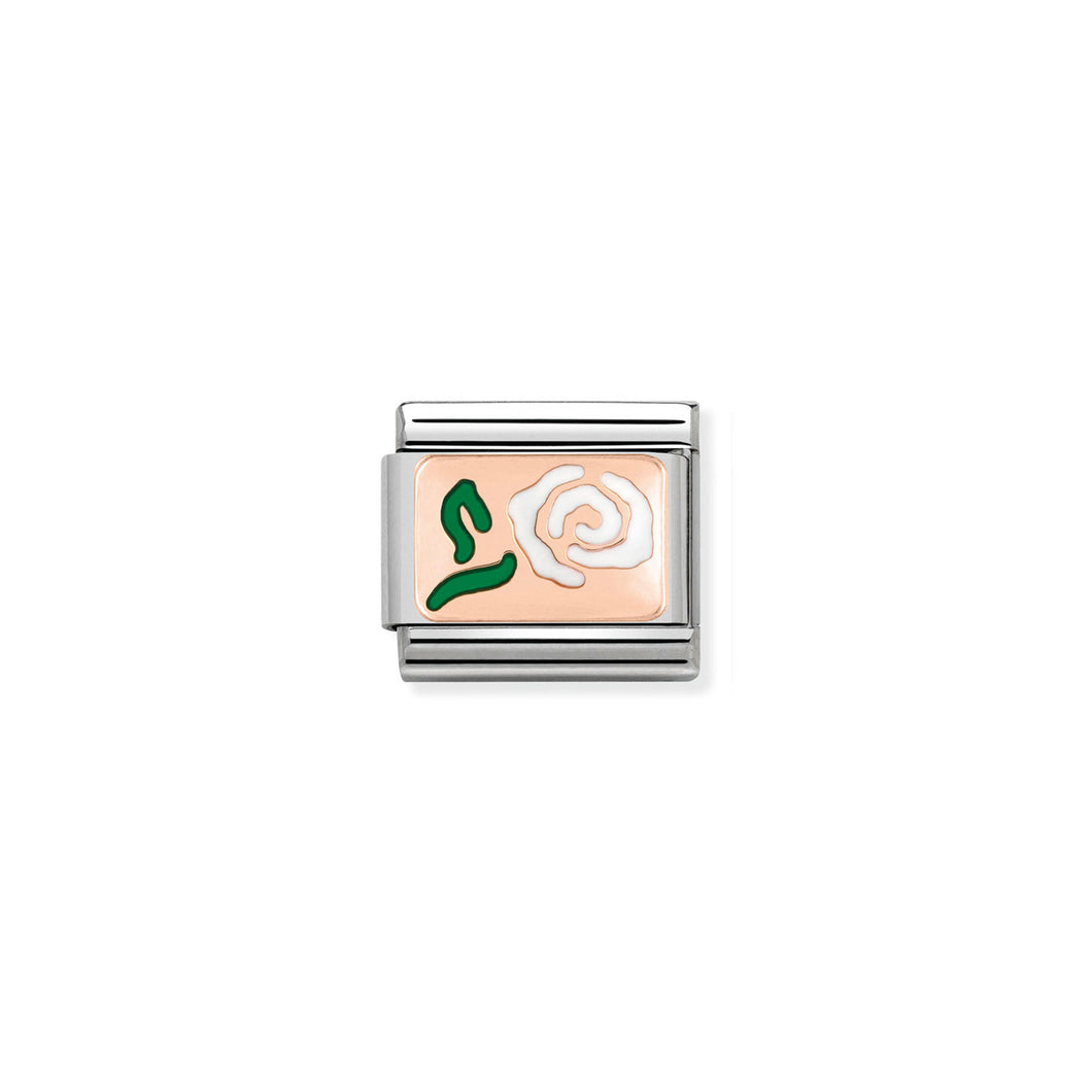 COMPOSABLE CLASSIC LINK 430201/09 WHITE ROSE 9K ROSE GOLD PLATE & ENAMEL