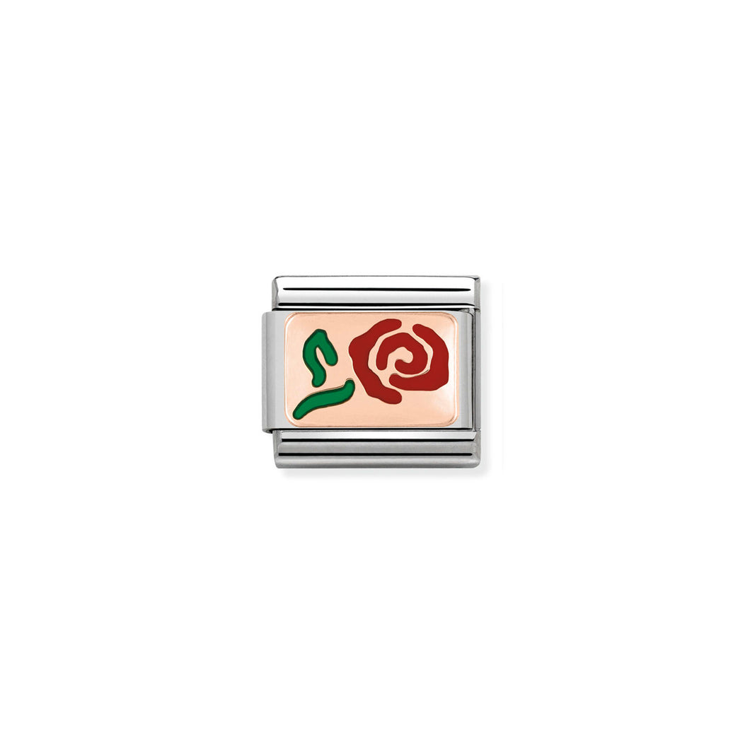 COMPOSABLE CLASSIC LINK 430201/10 RED ROSE 9K ROSE GOLD PLATE & ENAMEL