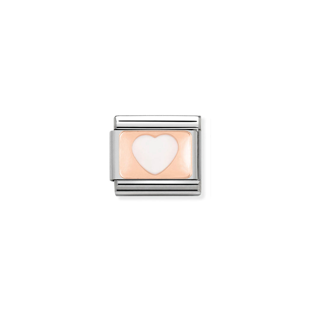 COMPOSABLE CLASSIC LINK 430201/13 WHITE HEART 9K ROSE GOLD PLATE & ENAMEL