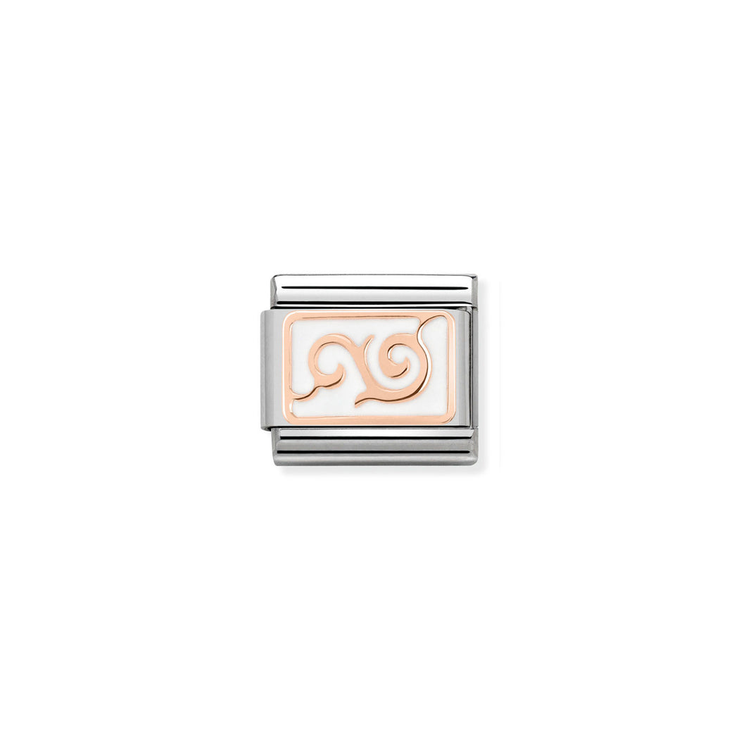 COMPOSABLE CLASSIC LINK 430201/15 WHITE SWIRL 9K ROSE GOLD PLATE & ENAMEL