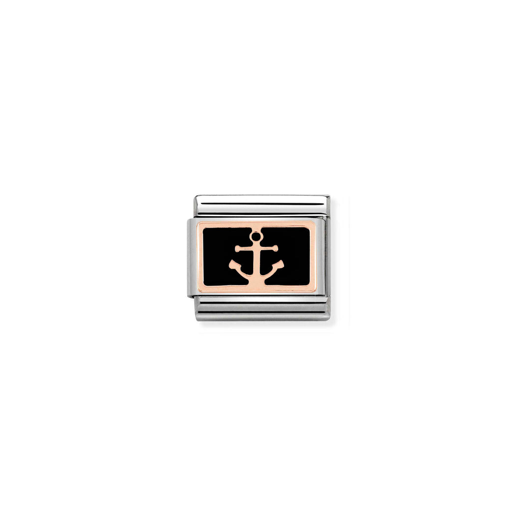 COMPOSABLE CLASSIC LINK 430201/18 ANCHOR BLACK 9K ROSE GOLD PLATE & ENAMEL
