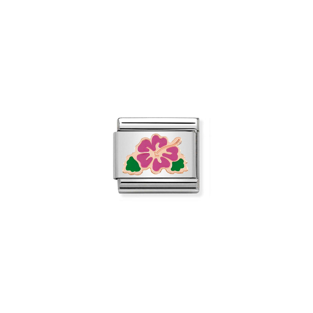 COMPOSABLE CLASSIC LINK 430202/04 FUCHSIA HIBISCUS 9K ROSE GOLD & ENAMEL