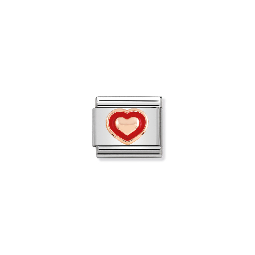 COMPOSABLE CLASSIC LINK 430203/01 HEART WITH RED BORDER 9K ROSE GOLD & ENAMEL