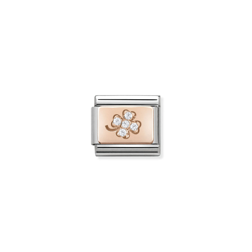 COMPOSABLE CLASSIC LINK 430302/02 FOUR-LEAF CLOVER CZ ON 9K ROSE GOLD PLATE